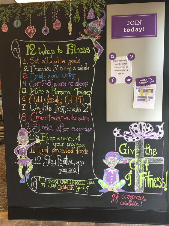 12 Ways to Fitness - Large Chalkboard Sign