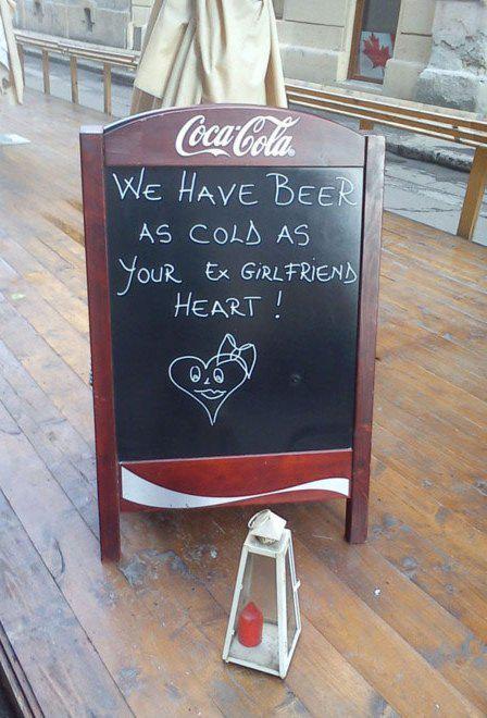 Cold Beer Ex Heart - Chalkboard