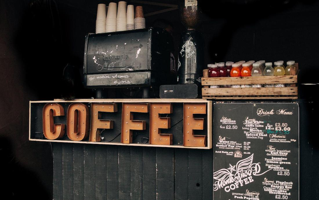 COFFEE sign in drink shack takeway