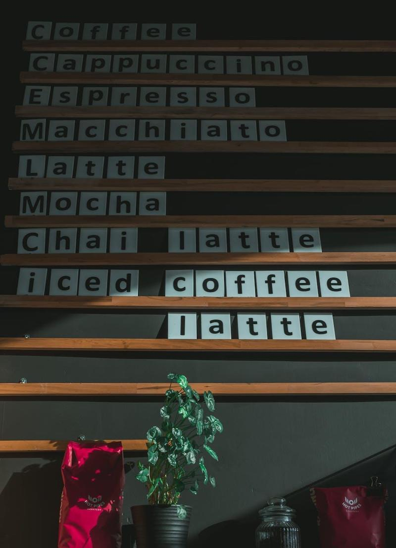 Coffees Sign Board Inside Cafe