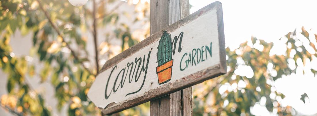 Garden This Way - Sign on Post