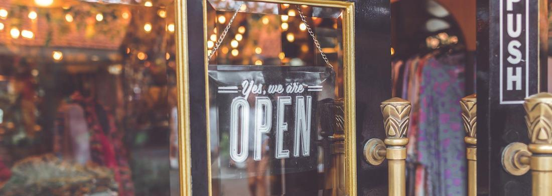 Yes we are open - shop window sign