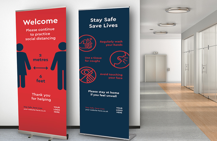 roller banners being used for social distancing advise
