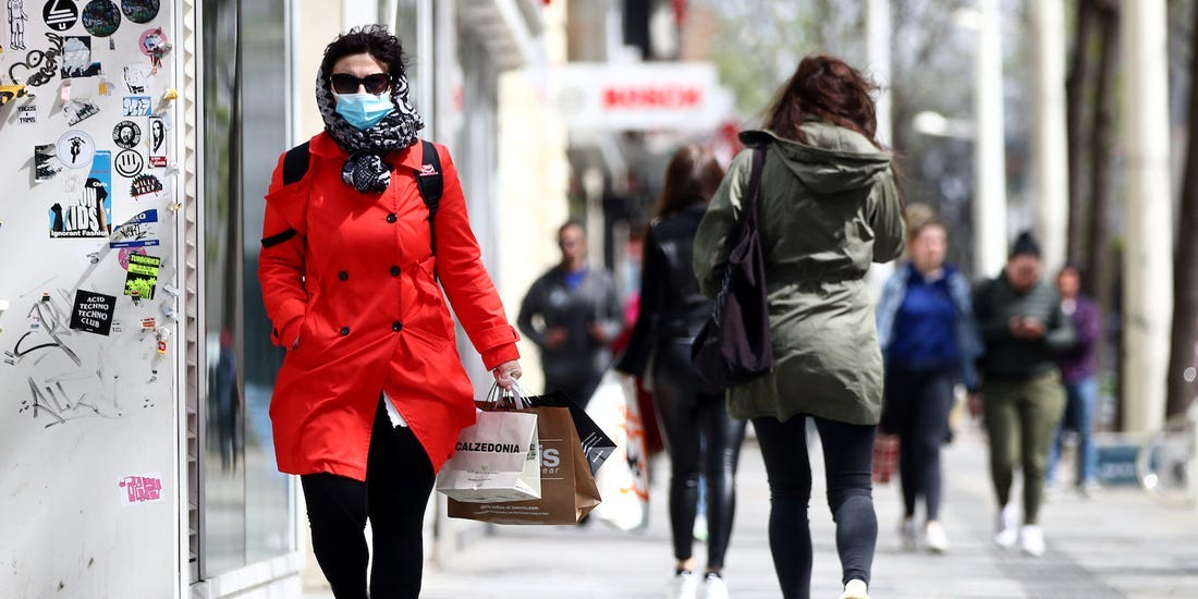 high street shopper with face mask