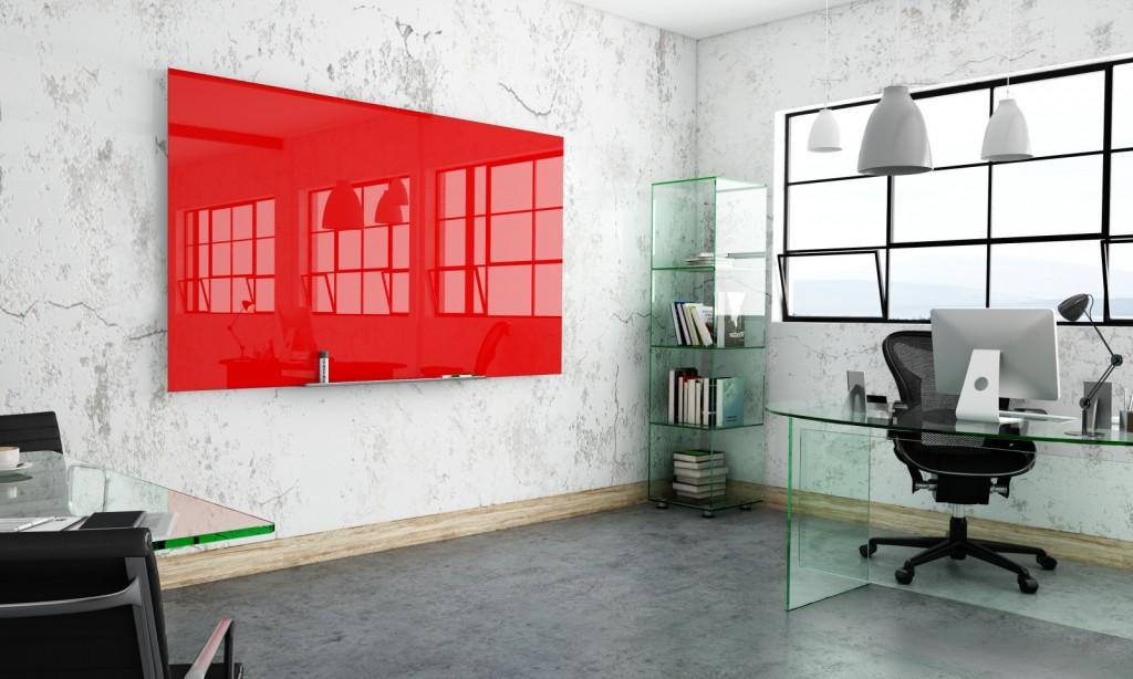Red Glass Whiteboard in Trendy Modern Office