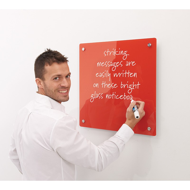 Red Coloured Glass Whiteboard with man using white chalk marker pen