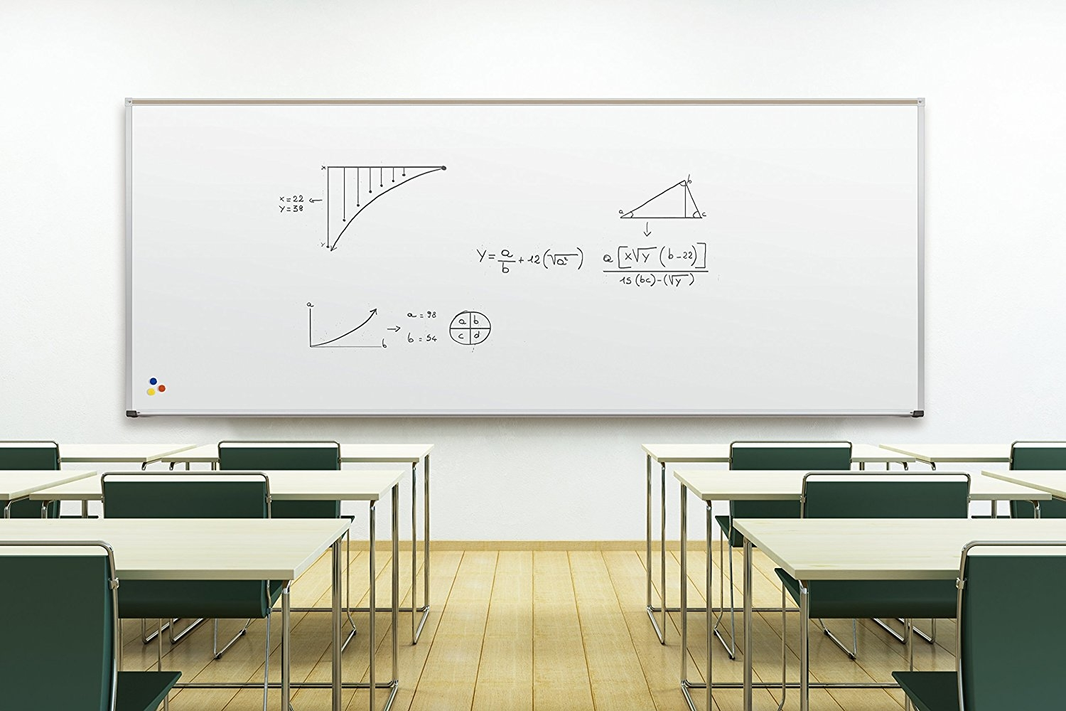 Large Magnetic Whiteboard in Stylish School Classroom