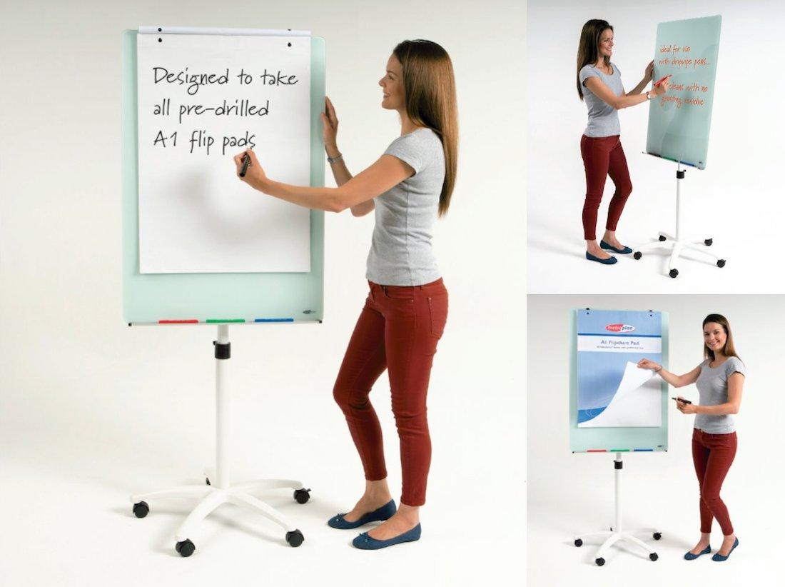 Glass Whiteboard Flip Chart Easel