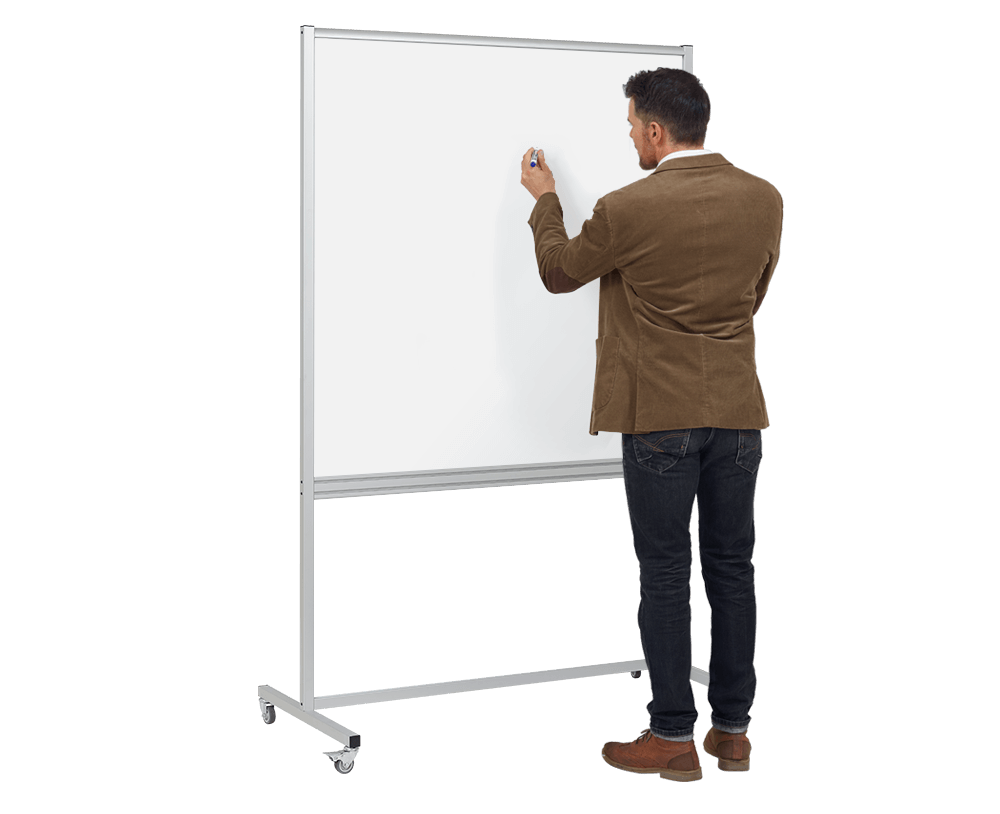 Standing position for writing on mobile whiteboards and flip chart easels