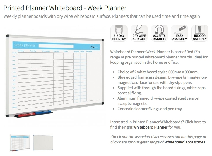Printed Planner Whiteboard Week