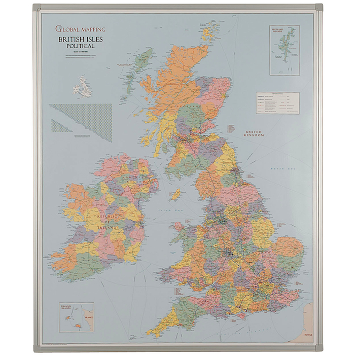 UK Map Whiteboard with frame