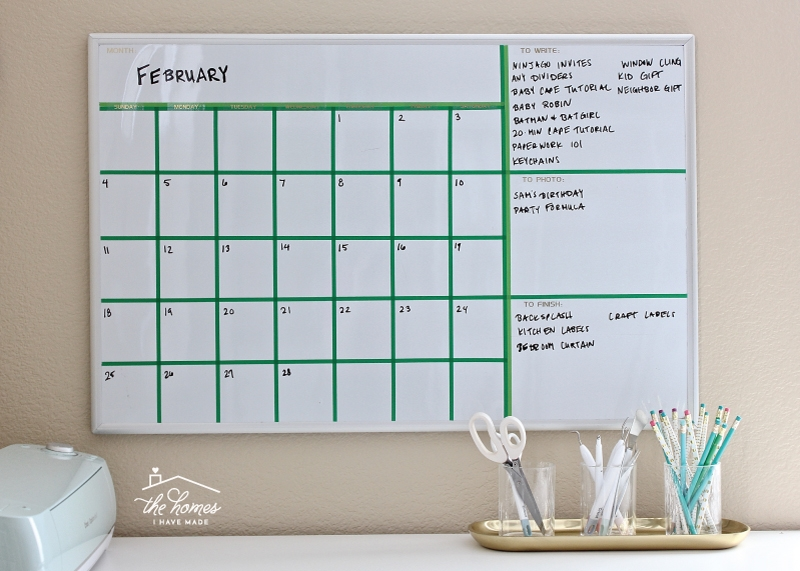 Creating a whiteboard calendar using tape for whiteboards