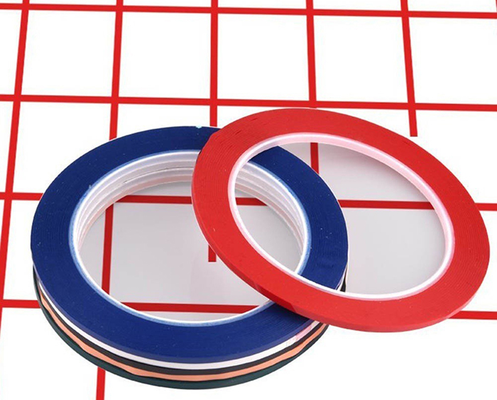 red and blue whiteboard tape