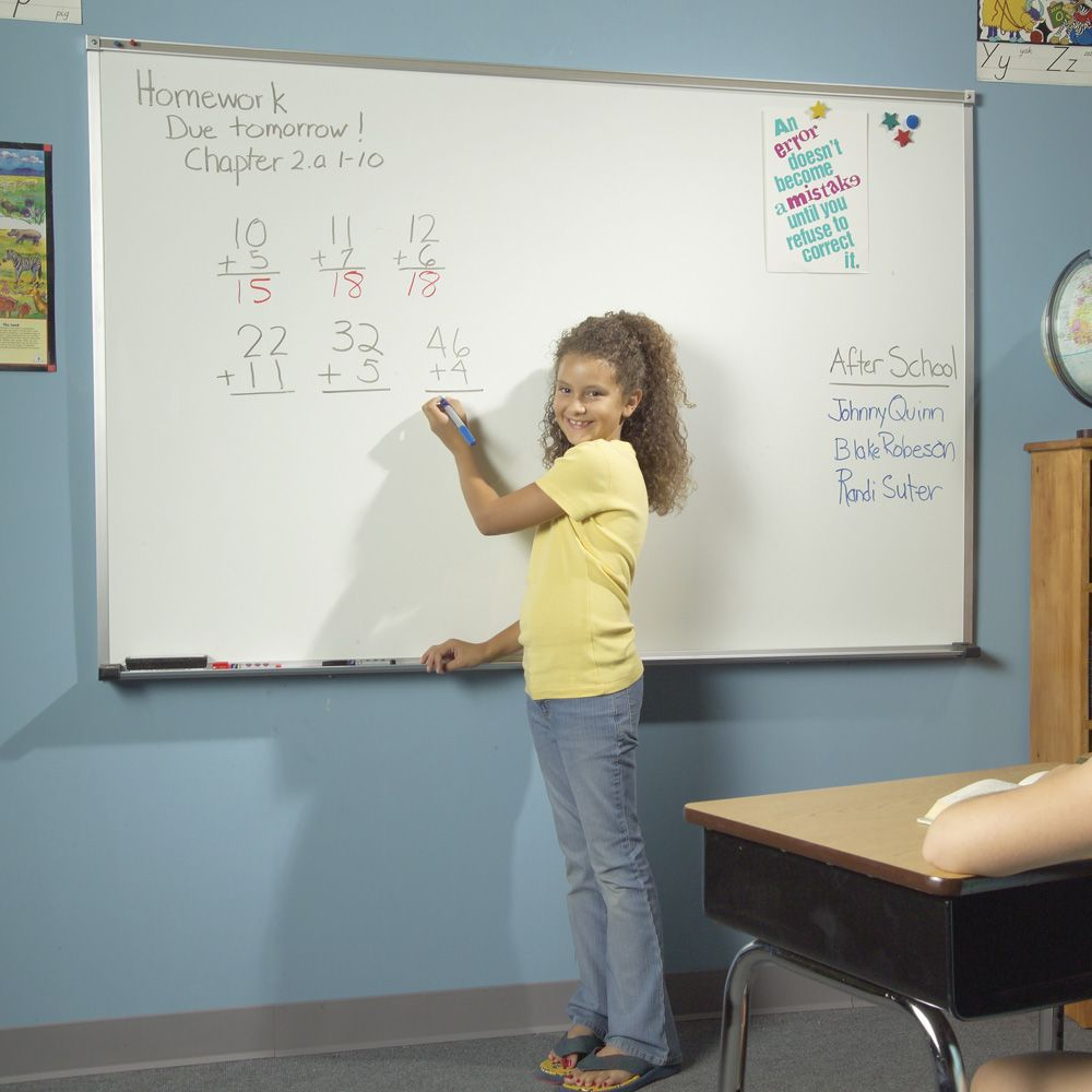 Child Writing on Classroom Whiteboard