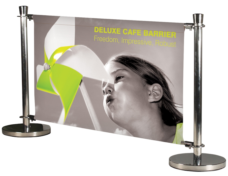 Deluxe Cafe Barrier Banner Stands from Red17