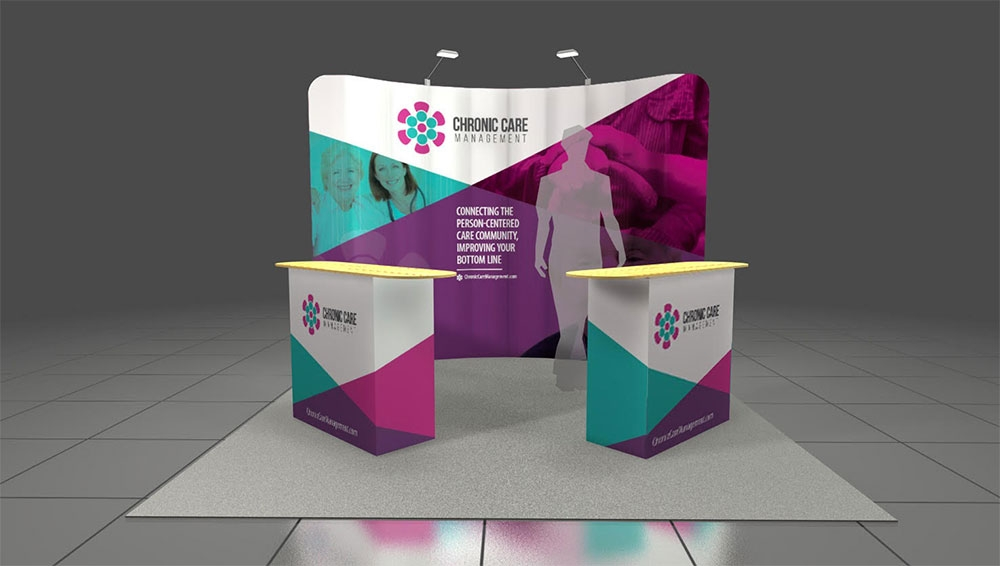 Impressive tradeshow stand pop-up display stand