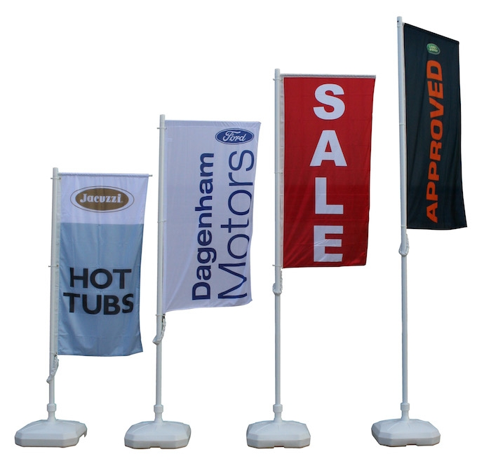 Examples of portable flag poles and flag banners