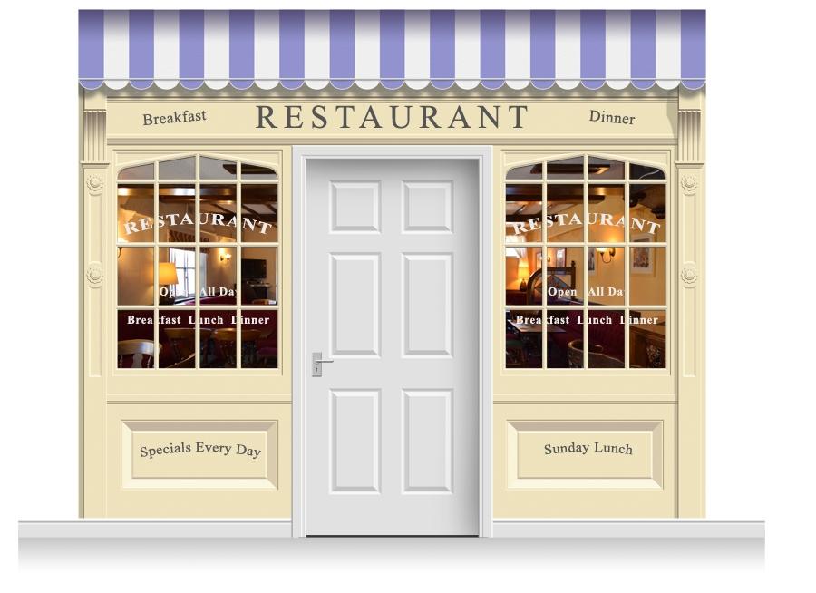 Shop front restaurant illustration