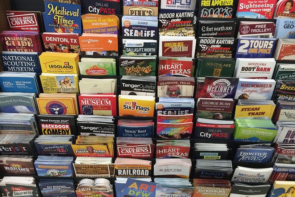 brochures in literature stand