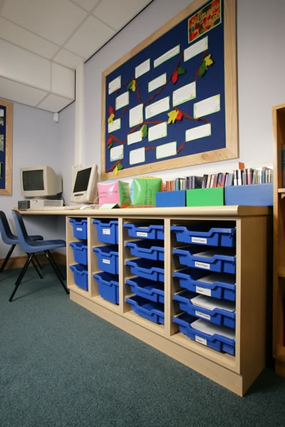 School Notice Board and Storage Trays