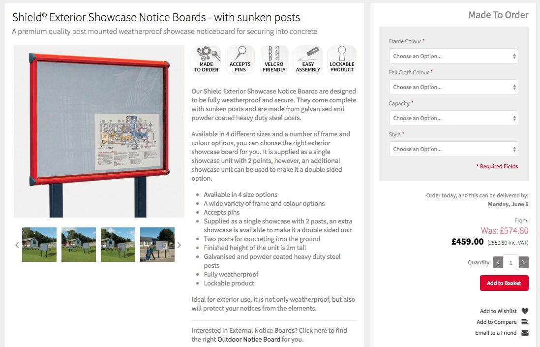 Shield Exterior Notice Board with Sunken Posts