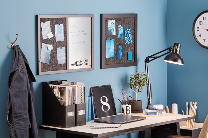 Trendy home office with noticeboard